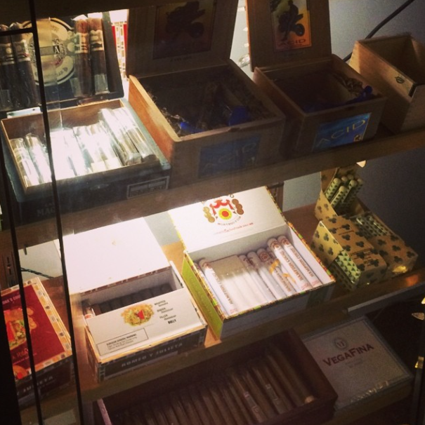 A small sample of the cigar selection at Delaney's in Denver